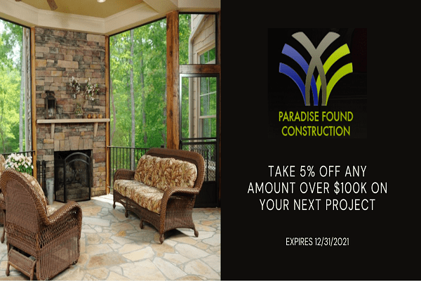 Five percent remodeling discount coupon in Raleigh by Paradise Found Construction